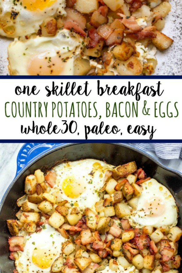 This is one of the easiest and tastiest Whole30 breakfast skillets. These country potatoes, bacon and eggs make a pretty complete and healthy breakfast in only one pan, making clean up a breeze! This paleo breakfast is a classic, and it's always a hearty, filling go-to everyone will love! #whole30breakfast #whole30breakfastskillet #whole30breakfastrecipes #whole30bacon