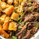 This classic Whole30 instant pot pot roast recipe is just the way my Nana makes it. Except of course in the instant pot, and totally Whole30 and Paleo! It's got that gravy we all know and love, hearty veggies and with a few buttons on your instant pot, you've got an easy Whole30 dinner! It also makes a great meal prep recipe being it makes enough to feed an army! #whole30recipes #whole30instantpot #whole30potroast #instantpotpotroast