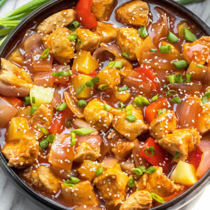 Whole30 Instant Pot Sweet & Sour Chicken (Paleo, GF, Skillet Instructions)