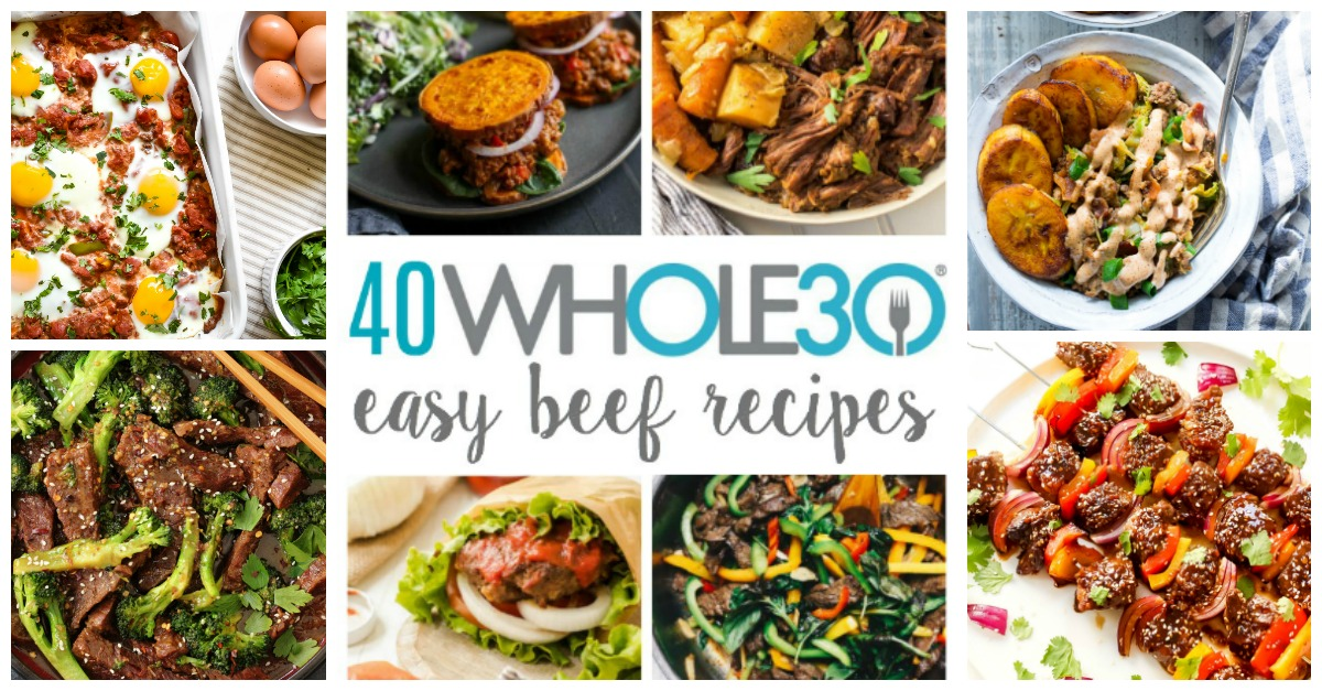 These Whole30 beef recipes are easy, family friendly and perfect for quick weeknight meal ideas or to make for meal prep. Chicken can get boring really quickly, and it's an easy go-to here in my house, so we like to change things up. These Whole30 and Paleo beef recipes include ground beef, steak, roasts and more. There's even some breakfast options! #whole30beefrecipes #whole30beef #paleobeefrecipes