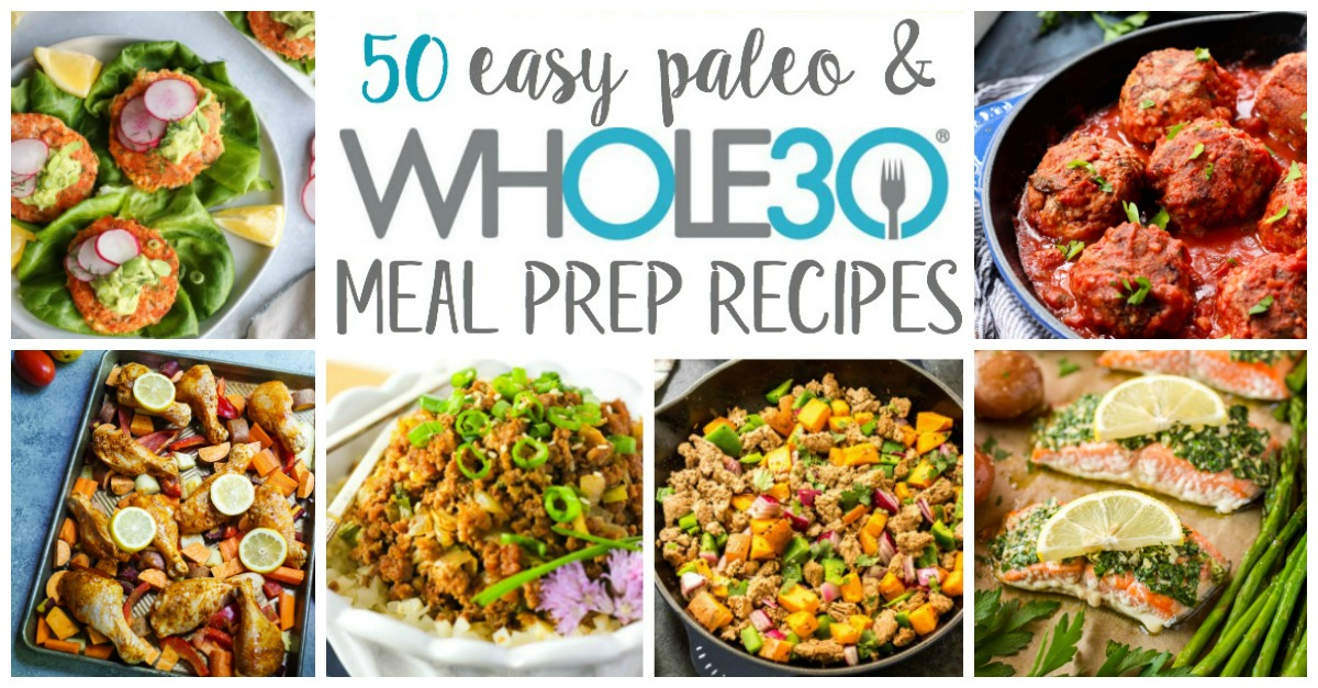 These easy Whole30 meal prep recipes include categories for chicken, beef and pork, seafood, sides, and easy to prepare sauces and dressings to make your next meal prep day as simple and quick as possible! All of these Whole30 and paleo recipes are ones that make great meal prep recipes and will keep in the fridge #whole30recipes #whole30mealprep #paleomealprep #easywhole30recipes