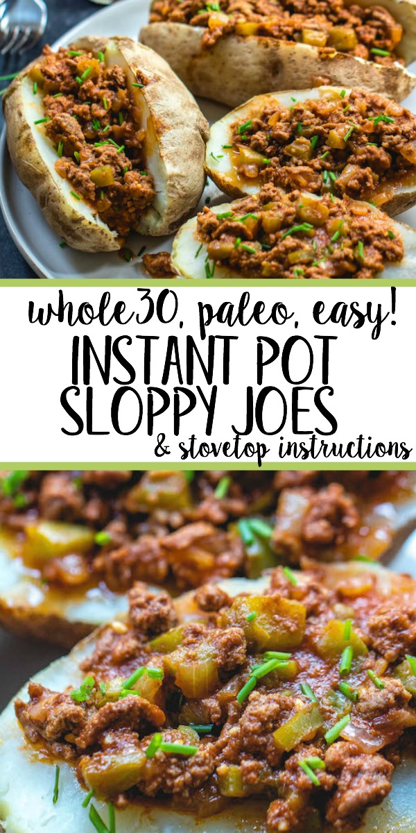 This Whole30 instant pot sloppy joes recipe is sure to be a new family favorite. Even though it's Paleo, and totally sugar free, it still has that familiar, classic flavor we all know and love. This Whole30 beef recipe is also budget friendly! Using the instant pot method allows for a fast cook time for a weeknight dinner, or gives you the ability to quickly whip up a large batch of everyone's favorite American staple without much hands on time! It's also a great freezer meal, so go ahead and double it! #healthyinstantpot #whole30recipes #whole30instantpot #instantpotsloppyjoes