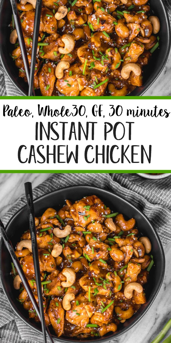 This Whole30 instant pot cashew chicken tastes like the familiar Chinese takeout we all love, but in a better-for-you, Whole30, Paleo, gluten-free version that only takes 30 minutes. No more waiting for your delivery full of MSG! This instant pot paleo cashew chicken is a family friendly meal, I promise even those who don't adhere to a real food diet will love it. #whole30instantpot #paleoinstantpot #whole30chicken #cashewchicken #whole30chickenrecipes