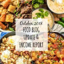 October Income Report and Food Blog Update