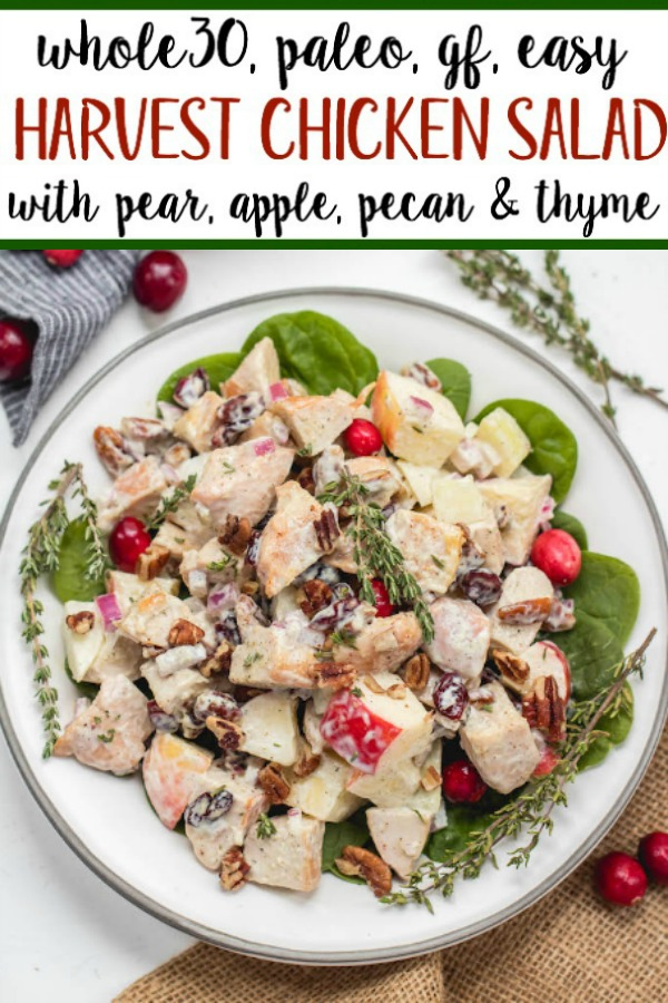 This harvest chicken salad is loaded with the best seasonal flavors like apples, pears, cranberries, pecans and thyme. It's a Whole30, Paleo, gluten and dairy-free version of a traditional mayo chicken salad that's been revamped to hold a spot on the holiday table or to be a new favorite meal prep recipe all fall and winter long. #whole30chicken #whole30chickensalad #paleochickensalad #wintersalad #harvestchickensalad