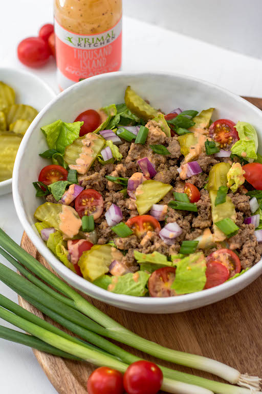 This chopped big mac salad is such an easy, delicious and quick lunch or dinner to whip up on a weekday or to prepare for meal prep. It's full of flavor but still a low carb or keto, Whole30 and Paleo salad recipe. Plus the only thing you have to really even cook is the beef! Just a little chopping and you've got your healthy salad ready to go. #whole30recipes #paleorecipes #bigmacsalad #ketorecipes