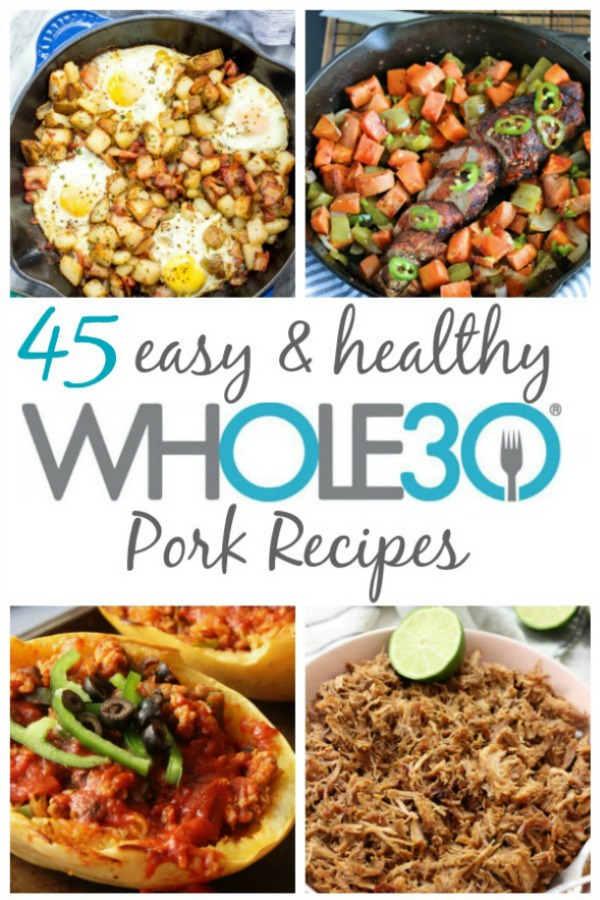 These 45 Whole30 pork recipes include ideas for breakfast, main meals for dinner or meal prep, along with soups and stews. While they're Whole30, they're also all great options for Paleo, gluten-free, dairy-free or just real food! There are a lot of recipes for bacon, pork shoulder and sausage. #whole30 #whole30pork #whole30recipes #paleo #porkrecipes