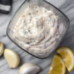This homemade Whole30 tartar sauce is easy to make, and a much healthier version made sugar-free and dairy-free. It's also a keto and paleo homemade sauce option that is a tasty addition to all of your fish recipes! #whole30recipes #whole30tartarsauce #fishrecipes #homemadesauce #paleo #keto