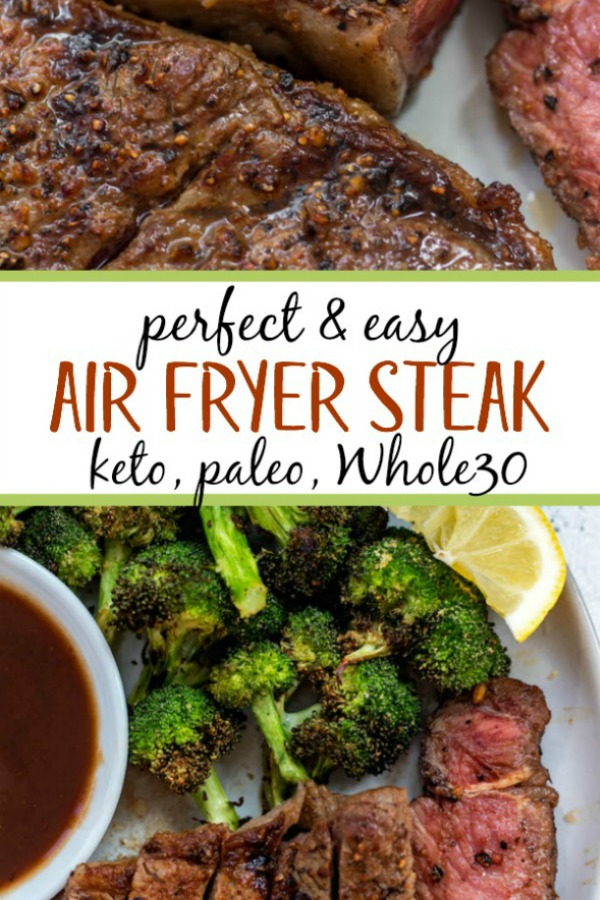 Air Fryer Steak is a foolproof method that comes out perfectly every time. Air fryer steak is a quick weeknight meal for anyone, but especially simplifies things for those eating paleo, Whole30, keto or those simply sticking to eating more real foods. #paleo #whole30 #airfryer #whole30airfryer #paleoairfryer #keto #ketoairfryer #airfryerbeef