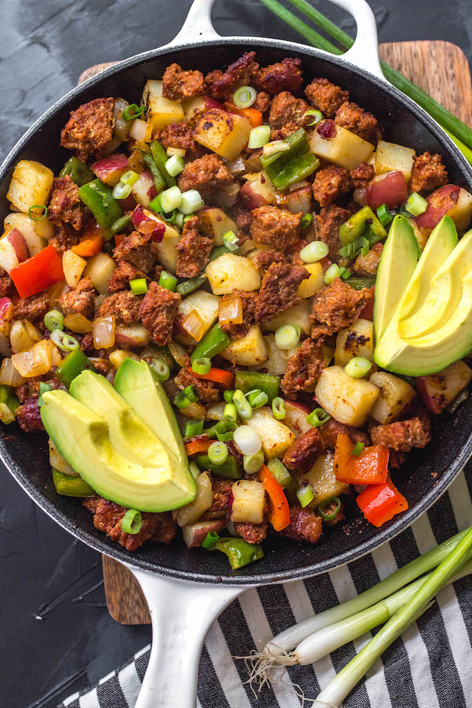 This easy chorizo and vegetable breakfast skillet is a quick egg-free breakfast that's perfect for a Whole30, Paleo or gluten-free meal prep recipe. It's full of hearty veggies and lots of flavor from the herbs and spices in the chorizo, and cooking it in one pan makes clean up simple. It reheats so well, so it's great for breakfast throughout the week! #whole30breakfast #eggfreebreakfast #whole30eggfree #chorizo #breakfastskillet #paleo #glutenfree #onepan #whole30recipes