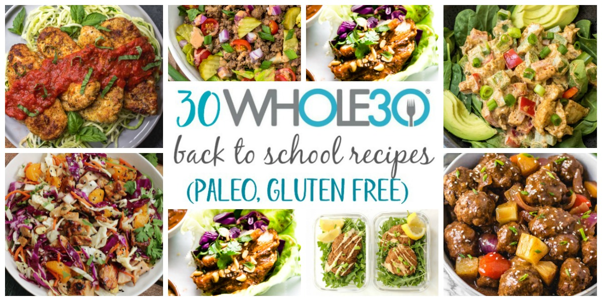 These Paleo and Whole30 back to school recipes are easy, healthy, 30 minute meals that are either simple to make on a busy weeknight, or easily packable for work lunches or school lunches. There's a large variety separated into categories such as chicken, beef, vegetarian, pork and seafood. There's sure to be something new to make your back to school routine more exciting. #whole30recipes #paleorecipes #whole30 #paleo #glutenfree #backtoschool #familyfriendly
