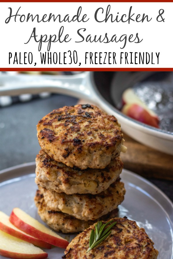 These Whole30 homemade chicken apple sausages are paleo, gluten-free, dairy-free and freezer friendly. With just a few simple ingredients you can make your own chicken and apple breakfast sausages at home and make meal prep easy! These take under 20 minutes to prepare and they are a perfect family friendly Whole30 recipe that everyone will enjoy. #whole30breakfast #paleobreakfast #whole30sausage #whole30chickensausage #homemadesausage #whole30breakfast