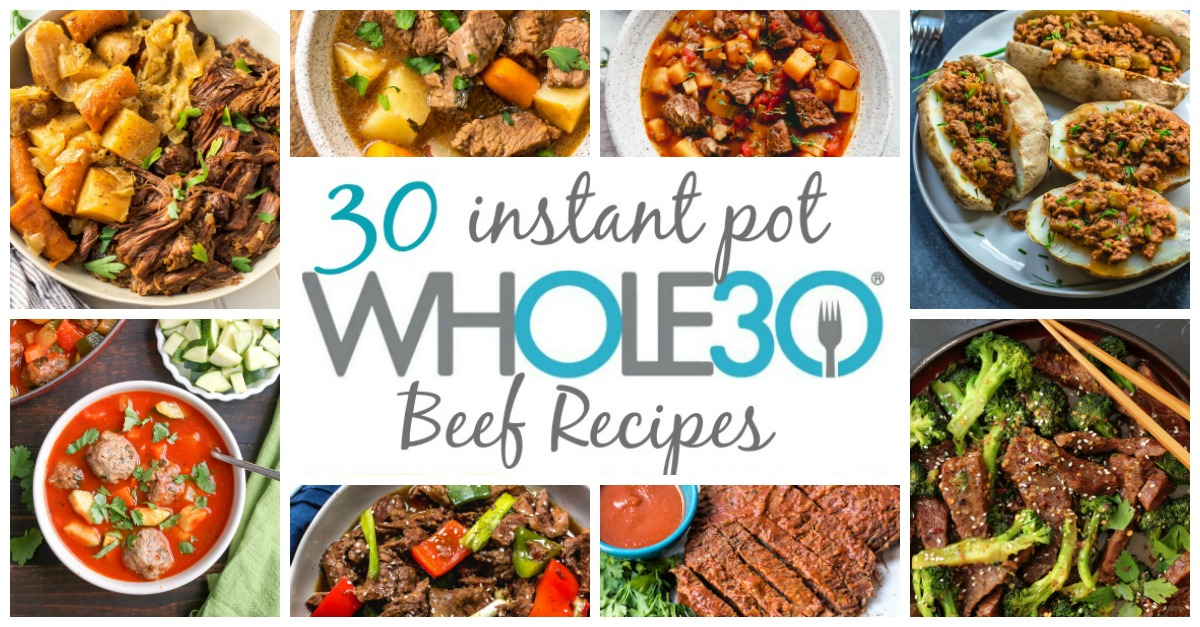 These are 30 of the easiest, most delicious Whole30 instant pot beef recipes to help simplify your healthy eating or make it easier to get a weeknight meal together. These recipes are also all paleo, and many are low carb as well. The recipes range from instant pot beef stews and soups, comfort foods, to internationally-inspired beef instant pot recipes. They're all time saving recipes that are great for meal prepping! #whole30beefrecipes #whole30instantpot #paleoinstantpot #paleobeefrecipes #whole30budgetrecipes