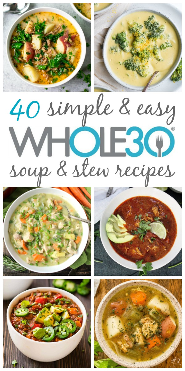These 40 Whole30 soup, stew and chili recipes are hearty, delicious and perfect for a weeknight meal or meal prepping. They are all also paleo, dairy-free and gluten-free, and sure to be new family favorites. From chicken soups, beef soups, pork, turkey, seafood and vegetarian soups, this post brings you all of the best Whole30 soup recipes! #whole30soup #paleosoup #whole30recipes #whole30souprecipes #dairyfreesoups #whole30stew