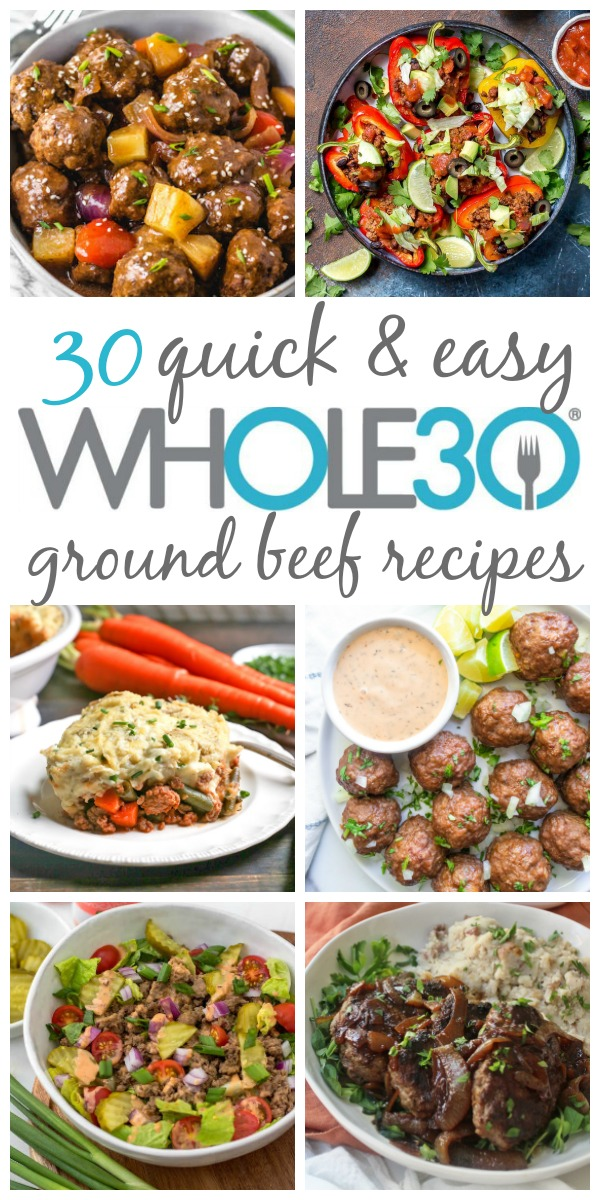 These Paleo and Whole30 ground beef recipes are quick, easy, and make great meal prep recipes. They're also ideal for busy weeknight meals or making budget friendly Whole30 recipes. These ground beef recipes include instant pot, slow cooker, and skillet categories so no matter what you have for time, there's something here that you'll love! #whole30groundbeef #groundbeefrecipes #paleogroundbeef #whole30beefrecipes #paleobeefrecipes