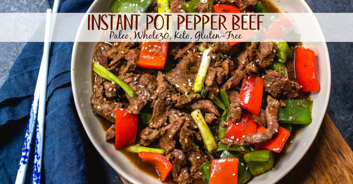 This paleo and Whole30 instant pot pepper beef is a quick and easy weeknight meal that's also keto, gluten free and under 30 minutes. Whole30 instant pot recipes like this pepper beef are also great for meal prepping. It's like a simplified version of a beef stir fry but all contained in the instant pot and with very little hands on time! #whole30instantpot #whole30beefrecipes #paleoinstantpot #ketoinstantpot #ketobeefrecipes