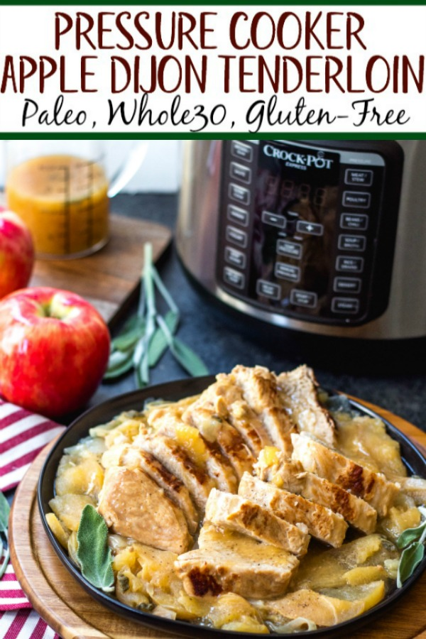 These pressure cooker apple dijon pork tenderloins are a simple fall weeknight meal or great for meal prepping. It's a Paleo, Whole30, gluten-free recipe and made in under 30 minutes. With only a few simple ingredients, this healthy pork tenderloin recipe will be a family favorite that can be on the table in no time #whole30porkrecipes #pressurecookerrecipes #paleoporkrecipes #appledijonporktenderloin #porktenderloin