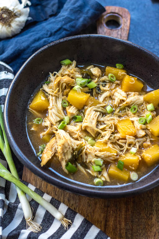 Whole30 instant pot pineapple ginger shredded chicken is a quick and easy meal you can make any night of the week in under 30 minutes. This flavorful and family friendly recipe is Paleo, gluten-free, and just so happens to taste even better the next day as leftovers or purposefully meal prepped! #whole30instantpotrecipes #whole30recipes #whole30chickenrecipes #paleorecipes #chickeninstantpot
