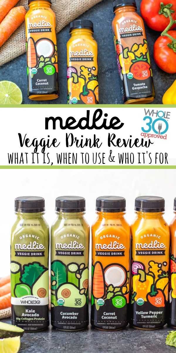 Medlie Veggie Drinks are drinkable, portable and convenient way to get in vegetables without any prep work, or any unnecessary junky ingredients. Medlie Veggie Drinks are Whole30 Approved, Paleo, Certified Organic, low carb, and made without added sugar, preservatives or stabilizers. Medlie has taken the freshest veggies, combined them into awesome flavors and bottled them up to make it easy for anyone and everyone to never skip their vegetables #whole30drinks #medlieveggies #whole30approved #paleodrinks #ketodrinks