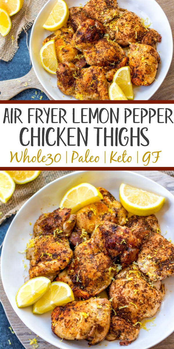 These Paleo and Whole30 air fryer lemon pepper chicken thighs are crispy on the outside and full of juicy flavor on the inside. This keto and gluten free recipe is one of the easiest ways to get dinner on the table or meal prep done in just under 30 minutes. Your family will love it and you'll love how easy clean up will be! #whole30airfryer #ketoairfryer #airfryerchickenthighs #paleoairfryer