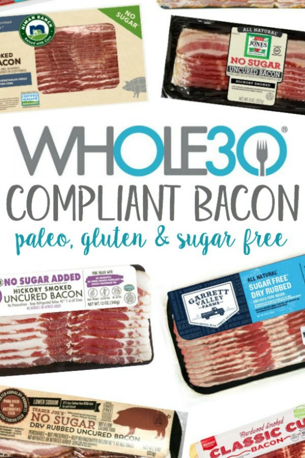 This in-depth, most up-to-date, and complete list of Whole30 bacon brands and options will help you find where to buy it, and easily locate a Whole30 Approved bacon brand that not only tastes great, but is made without sugar and other additives that are off limits during your Whole30. Many of these Whole30 and Paleo compliant bacon options are now available in our local stores, such as Walmart, Target, Sprouts and Whole Foods #whole30bacon #whole30approvedbacon #paleobacon #sugarfreebacon