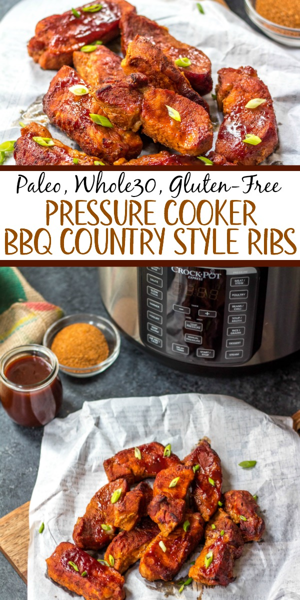 These paleo and Whole30 pressure cooker BBQ country style ribs are incredibly easy to make, only require a few simple ingredients and perfect for any holiday meal or weeknight dinner. They're done in 30 minutes with very little hands-on time, and made with healthy, real food ingredients but still have the classic, comforting taste. #whole30pressurecooker #paleopressurecooker #whole30bbqribs #bbqcountrystyleribs