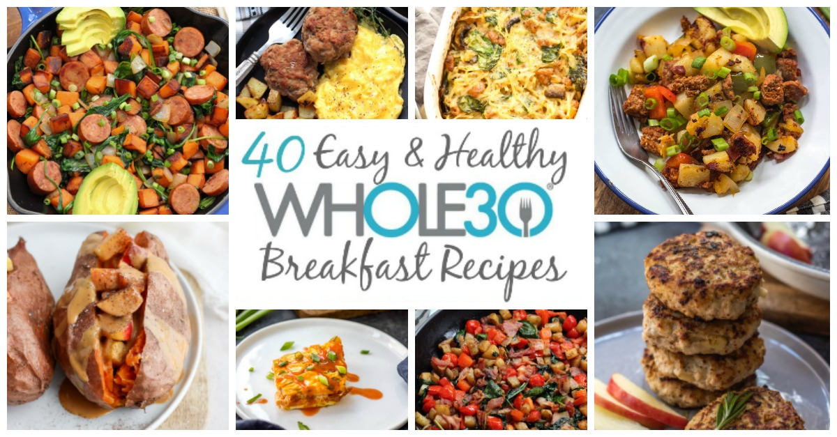 These 40 Whole30 breakfast recipes are some of the best on the internet! Everything from pork, beef, chicken, and turkey breakfast recipes are here, so there's sure to be something family friendly that everyone will love. All of these easy breakfast recipes are also Paleo, gluten-free, and dairy-free. They make great meal prep recipes, so that breakfast all week is taken care of! #whole30breakfastrecipes #whole30breakfast #paleobreakfast #glutenfreebreakfast #whole30recipes