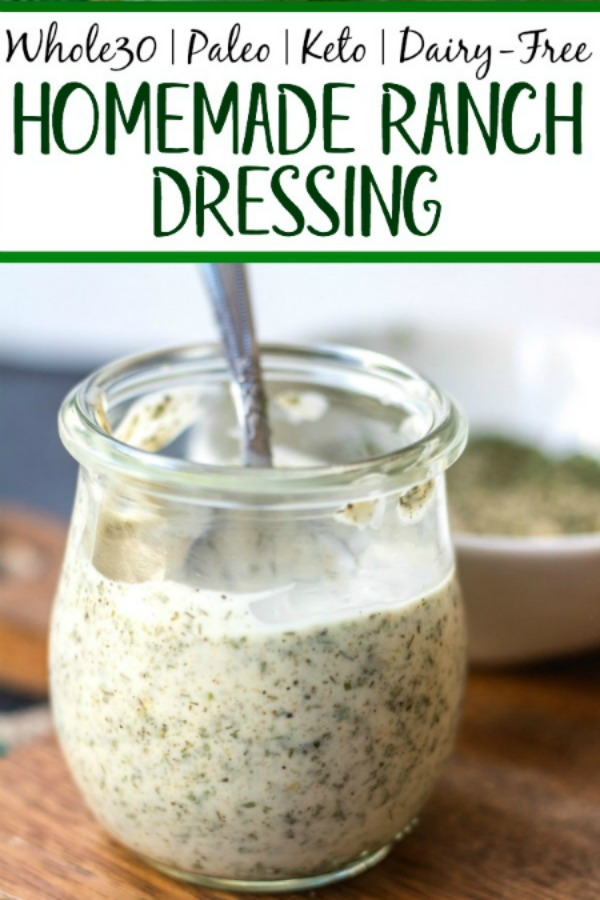 This Whole30 homemade ranch dressing is so easy to make at home. It's a paleo, keto, dairy-free and gluten-free DIY condiment that is perfect for dipping, drizzling or adding to a number of recipes. It takes under 5 minutes to whip together so it's a great addition to your meal prep to keep for the week ahead and is a healthy, budget-friendly alternative to store bought ranch. #whole30ranchdressing #whole30homemadedressing #ketoranch #paleoranch #dairyfreeranch