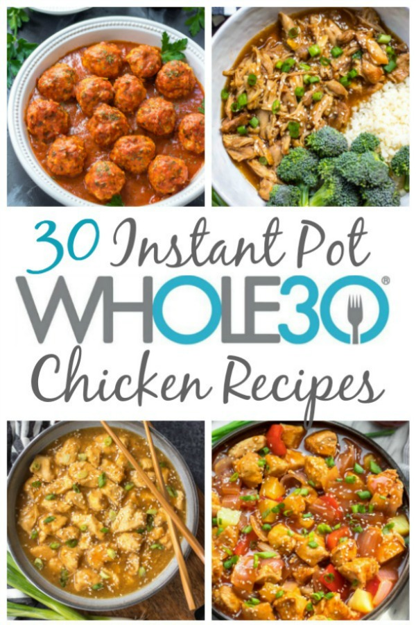 These 30 Whole30 instant pot chicken recipes are all easy paleo recipes that are perfect for both a family friendly weeknight meal, or meal prep for the week ahead. They're also all paleo and gluten-free recipes, with many of them being healthy low carb options as well. Making chicken in the instant pot is a great way to use budget friendly cuts of meat while keeping the flavors interesting and delicious! #whole30instantpot #whole30chickenrecipes #whole30chickeninstantpot #paleoinstantpot #paleochickenrecipes