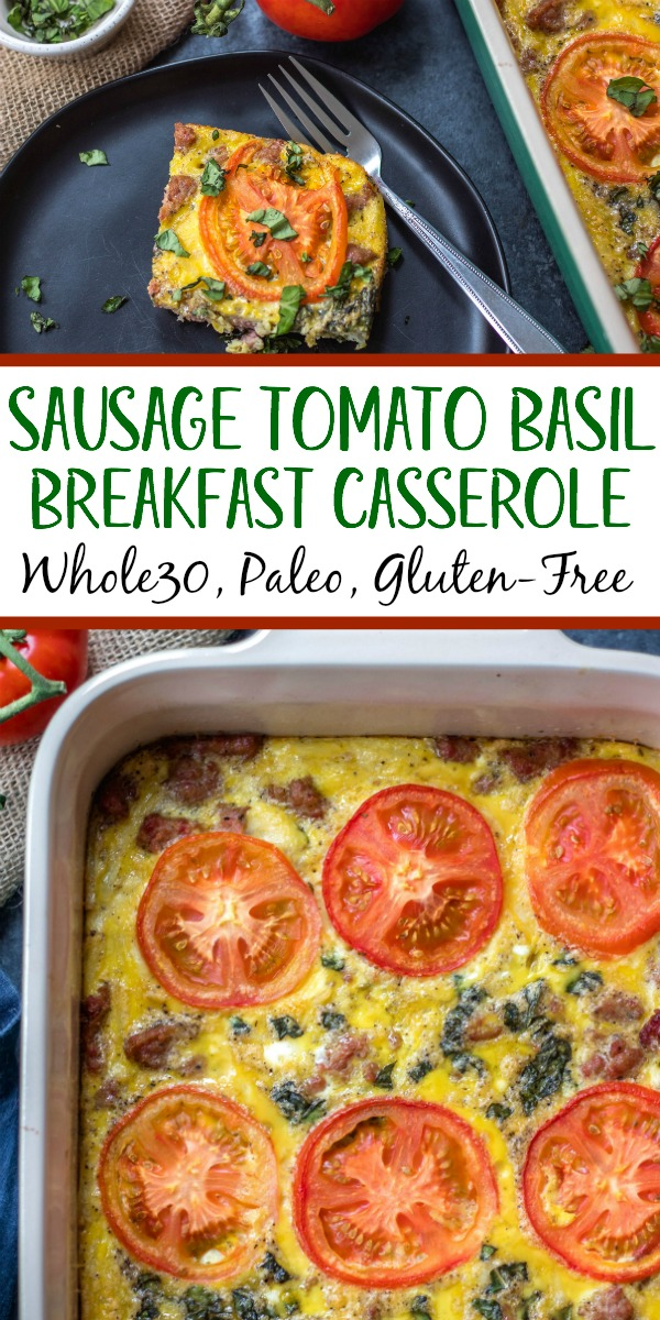 This Whole30 breakfast casserole is filled with sausage, tomato, basil and potatoes, and couldn't be easier to whip up for a Whole30 or Paleo breakfast meal prep recipe. With only a few simple ingredients and a bit of oven baking magic, you'll have a family friendly, gluten-free, and Whole30 egg bake, or be set for the week ahead! #whole30eggbake #whole30breakfastrecipes #whole30breakfastcasserole #paleobreakfast #glutenfreebreakfast #whole30sausagerecipes