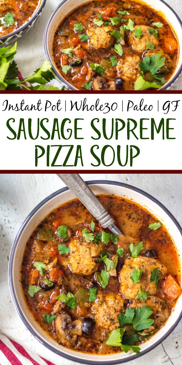 This Whole30 instant pot sausage pizza soup is so quick to make. Just roll the meatballs, add the vegetables and set the timer to 6 minutes! Perfect for meal prep or an easy weeknight dinner recipe that's healthy, paleo, gluten free and can be made keto! No fancy prep work here, just a few steps and this flavorful pizza soup is done! #whole30instantpot #whole30soup #whole30instantpotsoup #ketoinstantpot #paleoinstantpot