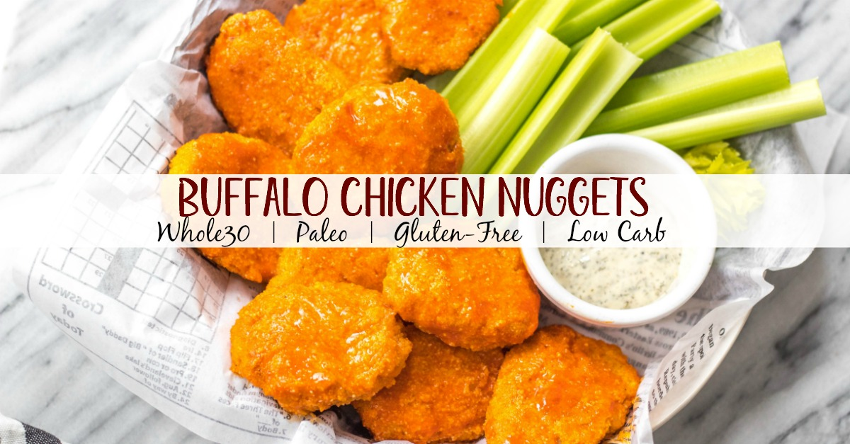 These buffalo chicken nuggets are the best easy and healthy weeknight dinner or meal prep idea. They're Whole30, Paleo, gluten-free, low carb and perfect for lunch, dinner, appetizers and even chopped up to make a buffalo chicken salad! It's a simple Whole30 ground chicken recipe that only takes a few ingredients and a few minutes in the oven! #whole30chickenrecipes #whole30groundchicken #whole30buffalo #paleochicken #glutenfree