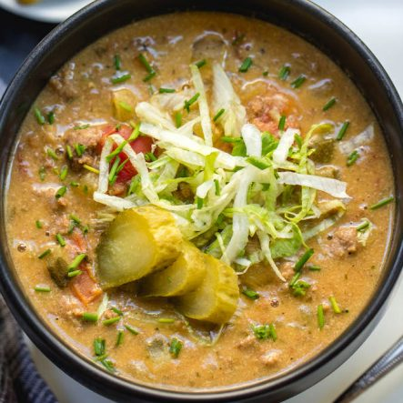 Slow Cooker Cheeseburger Soup: Whole30, Paleo, GF, Dairy-Free