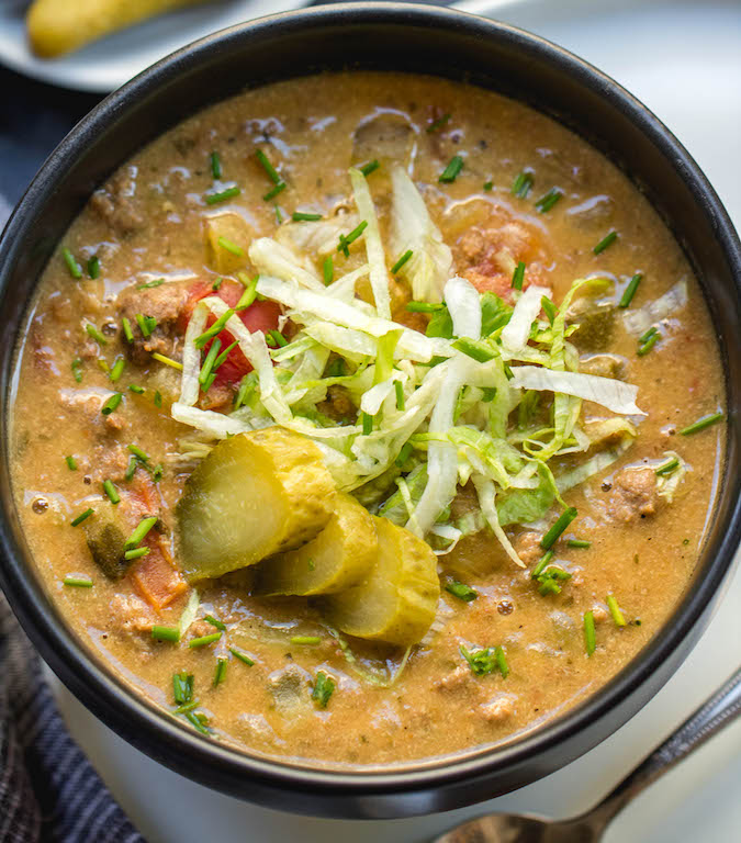 Slow Cooker Cheeseburger Soup  Whole30  Paleo  GF  Dairy