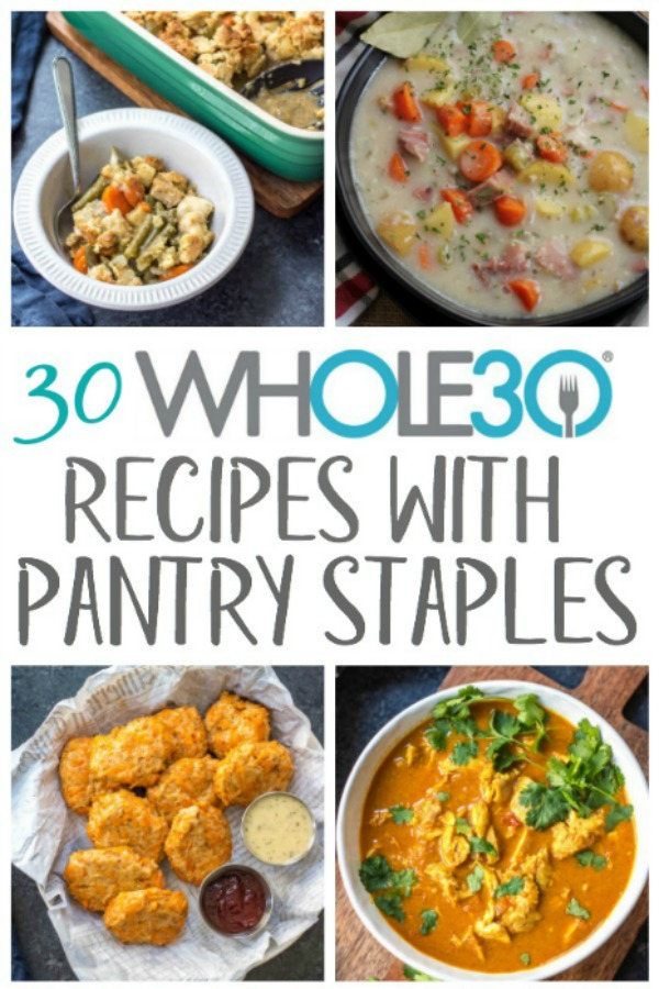 Sometimes it's nice to be able to pull out pantry staples and create healthy, Whole30 recipes from the food you have on hand. This is a budget friendly way to cook, while still eating gluten-free or Paleo. Many of these are also freezer friendly! The recipes call for things like canned tomatoes, canned coconut milk, sauces, marinara, and other food products that are shelf stable, and include slow cooker, instant pot, oven and stovetop options! #whole30pantrystaples #pantrystaples #healthypantrystaples #whole30cannedfood #whole30shelfstable