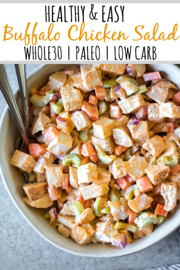 This healthy and easy buffalo chicken salad only takes a few simple ingredients, and is Whole30, paleo, low carb and gluten-free. It's got the perfect buffalo tang, while still being creamy and delicious! This recipe makes the perfect meal prep recipe, done in under 30 minutes, and that can be turned into many meals and enjoyed over greens, in wraps or straight out of the bowl. #whole30recipes #whole30chickenrecipes #ketochickenrecipes #chickensalad #buffalochicken #paleochickenrecipes #whole30mealprep