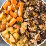This easy and tender pork roast only takes a few ingredients and lets the slow cooker do the work for you! It's a healthy family friendly recipe for dinner or meal prep, and is Whole30, paleo and gluten-free. The delicious vegetables, plus the gravy, are all made in right in the crock pot with the pork shoulder, so this hearty and comforting dinner is completely ready when you are! #whole30recipes #whole30slowcooker #whole30pork #paleo #slowcookerpork #glutenfree #winterrecipes #porkrecipes