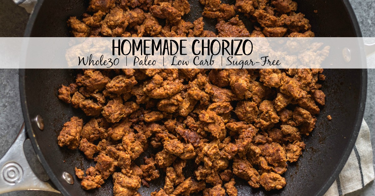 No need to search around for sugar free ground chorizo! Making your own Whole30, paleo and low carb chorizo using ground pork and some spices couldn't be more easy or quick! With only a few simple ingredients, this homemade chorizo is perfect for fast meals from dinner to breakfast, meal prep, and your budget! #homemadechorizo #sugarfreechorizo #DIYchorizo #groundchorizo #chorizorecipes #whole30chorizo #whole30porkrecipes #whole30chorizorecipes