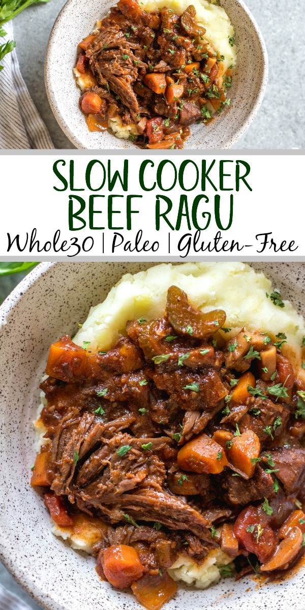This slow cooker beef ragu is the perfect cozy and hearty weeknight meal or meal prep recipe that's not only Whole30, paleo, and gluten-free, but it is incredibly delicious. It's loaded with vegetables, easy to prepare and takes almost no hands-on cooking time thanks to the crock pot. It also freezes really well! This is sure to be a family favorite, and a go-to recipe when you need a quick meal to be ready for dinner. #whole30slowcooker #whole30recipes #paleoslowcooker #slowcookerbeefragu #whole30beef #bestwhole30recipes #whole30weeknight