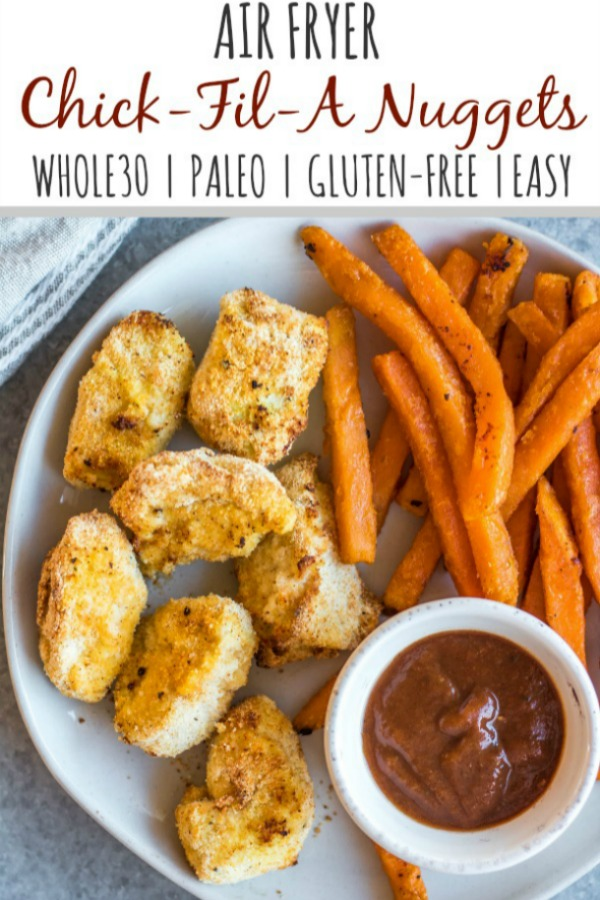 These Whole30 copycat Chick-fil-A chicken nuggets are such a great easy weeknight meal or family friendly go-to recipe for lunch or dinner. They're paleo, low carb, and made with simple ingredients, making them a healthier option than the drive through! These nuggets use pickle brined chicken pieces, then coated in a grain-and gluten-free mixture and cooked in the air fryer to perfection. #whole30airfryer #whole30chickennuggets #chickfilanuggets #glutenfreeairfryer #paleoairfryer #whole30chickenrecipes