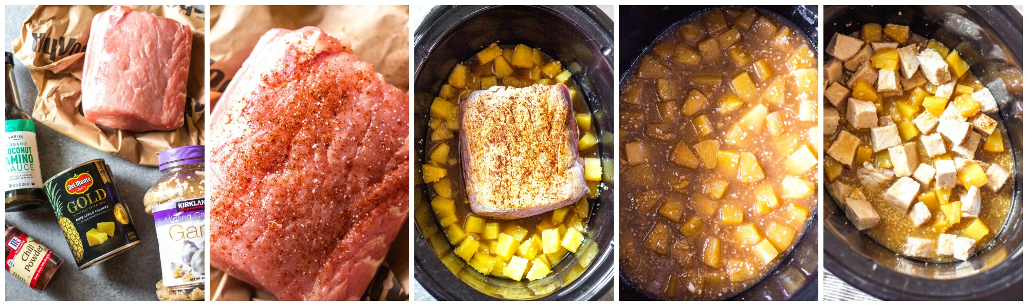 whole30 slow cooker pineapple pork cooking process