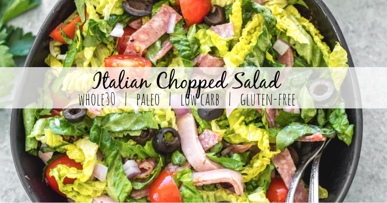 This easy Italian chopped salad is the perfect meal for lunch or dinner that requires no cooking, but is filling, healthy and loaded with vegetables! It's great for a light and fresh lunch, and still delicious enough to serve to guests. It's Whole30, paleo, keto/low carb, and gluten-free, and is a great way to clean all of those vegetables and deli meat out of the fridge! #whole30salad #whole30choppedsalad #ketosalad #lowcarbsalad #italiansalad #whole30recipes