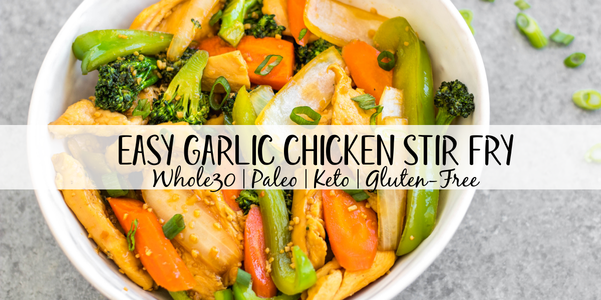 This easy garlic chicken stir fry gets dinner ready to eat in 30 minutes. It's incredibly simple to make for a weeknight meal, full of vegetables like broccoli, carrots and onion, and makes great leftovers for lunch meal prep. This is a family friendly Whole30, paleo, low carb and gluten-free recipe that everyone will love! The sauce is made from only a few pantry staple ingredients, making this a budget friendly one pot recipe, too. #whole30stirfry #garlicchicken #ketochicken #whole30chicken #whole30dinner #lowcarbchicken