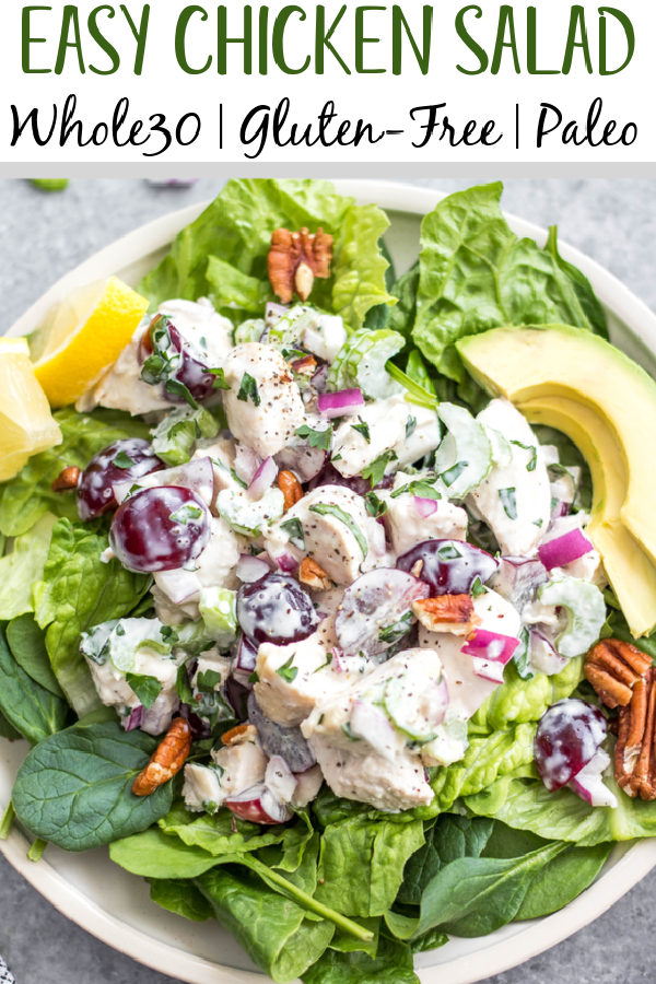 This classic chicken salad is an easy meal prep recipe that's Whole30, Paleo, gluten-free and low carb! It's made with grapes, celery and mayo and only a few other simple ingredients, making it a quick option to throw together, and is a great way to use leftover chicken. It's perfect for storing in the fridge and enjoying over greens for lunches, for a gathering, or a family meal that takes under 30 minutes to make! #whole30recipes #whole30chickensalad #classicchickensalad #ketochickensalad #lowcarbchicken #whole30chickenrecipes #chickensaladwithgrapes