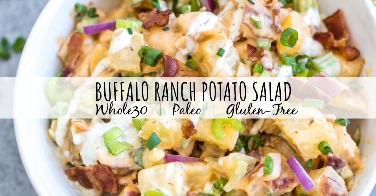 This Whole30 buffalo ranch potato salad recipe is a healthy, easy side dish or vegetable recipe that's a perfect addition to any meal or gathering. It's full of flavor from the sauces, bacon, golden potatoes, onion and celery, while being dairy-free, gluten-free and Paleo. It's a family friendly recipe that is also great for meal prep to pair with a protein and eat all week long. #whole30potato #buffalo #ranchrecipes #whole30potatosalad #bacon #whole30vegetablerecipes