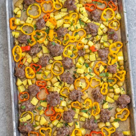 Sheet Pan Sausage, Potatoes & Peppers: Whole30, Paleo, Gluten-Free, Egg-Free