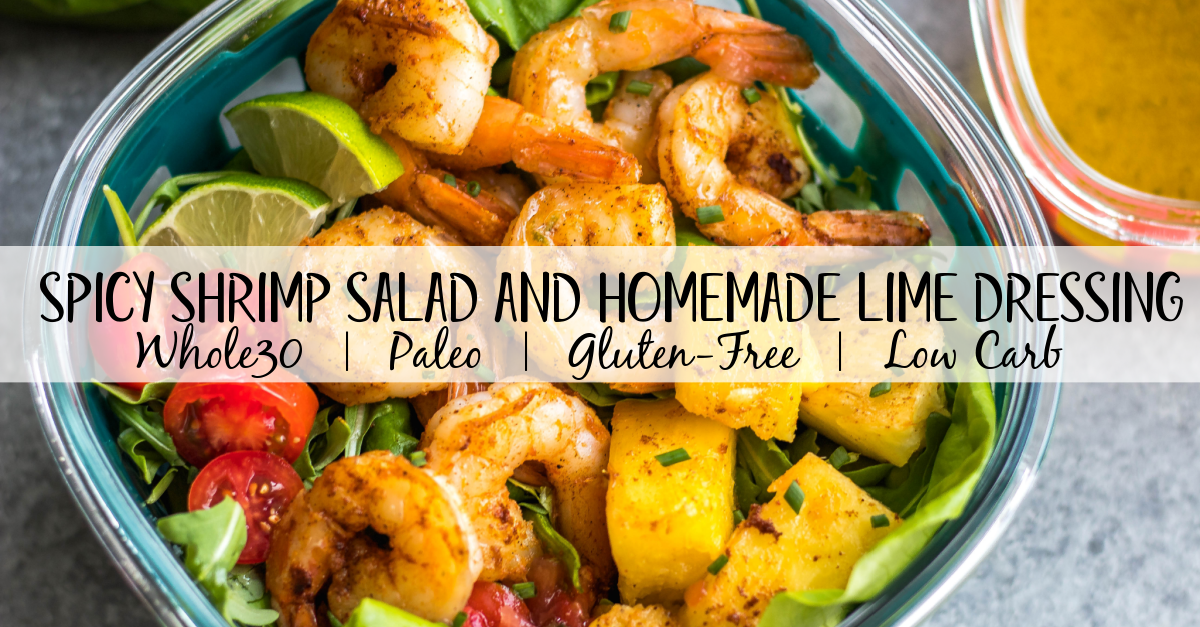 This spicy shrimp salad with homemade lime dressing is great for a healthy lunch meal prep or simple dinner. The shrimp cooks quickly and the dressing only takes a few minutes to prepare, so it all comes together in under 30 minutes. It's also all Whole30, paleo, low carb and paleo, while being full of flavor and super easy! #whole30shrimp #whole30salad #shrimpsalad #paleoshrimp #shrimprecipes
