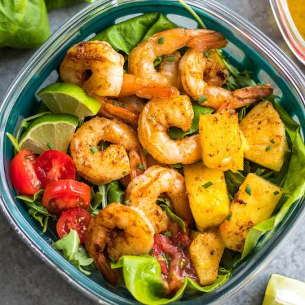 Spicy Shrimp Salad & Homemade Lime Dressing (Whole30, Paleo, Gluten-Free, Keto)