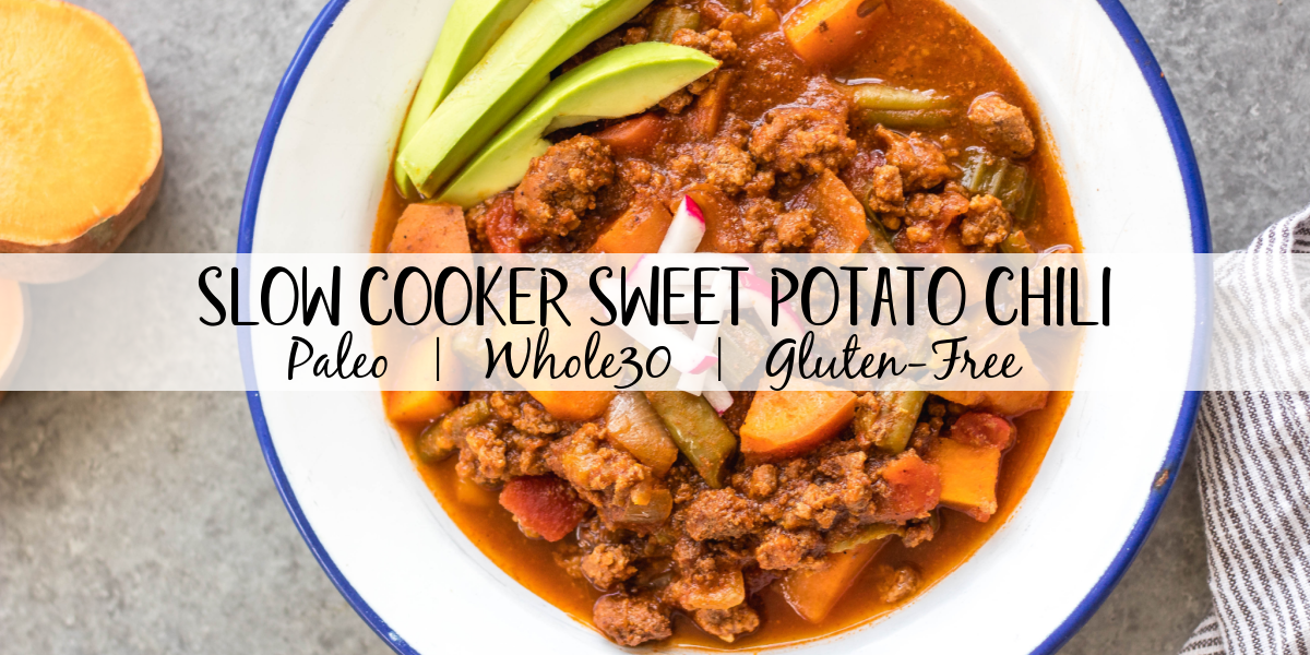 This easy slow cooker sweet potato chili is a meal prep dream! It takes under 30 minutes to throw together in a crock pot, is filling, healthy and reheats great for meals throughout the week. With vegetables like sweet potatoes, green beans, onion, and celery, canned items, and delicious chili spices, this Whole30 chili doesn't disappoint while being budget friendly. It's also paleo, gluten-free and dairy-free! #whole30chili #whole30sweetpotatorecipes #paleochili #whole30slowcooker #slowcookerchili