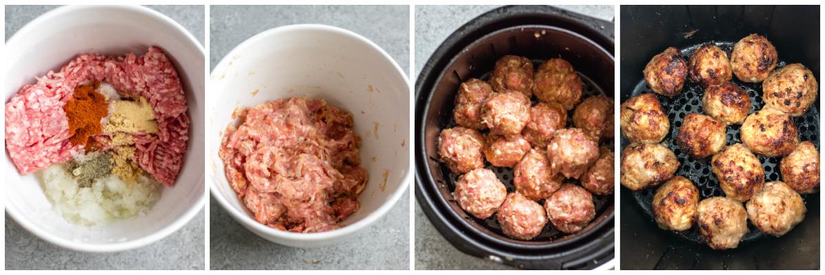 whole30 air fryer pork meatballs cooking process